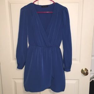 Honey Punch Blue Cinched Waist Dress Size S